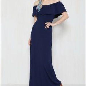 Navy Blue, Off Shoulder Maxi Dress